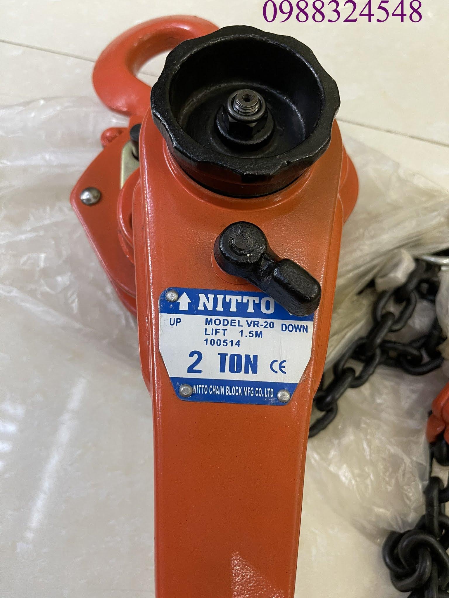 Pa lăng lắc tay Nitto VR-20 2 tấn