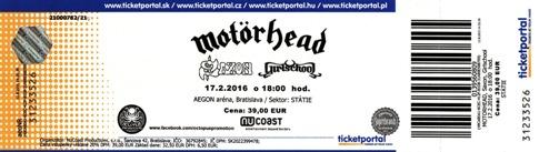 Motörhead na Slovensku, Motörhead lístok na koncert, ticket to Motörhead, Lemmy Kilmister death, Lemmyho Kilmister smrť