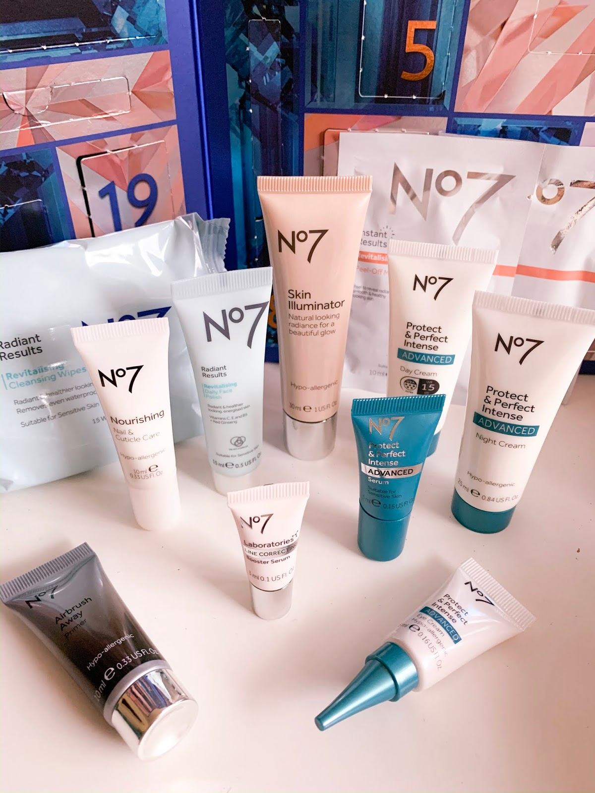 No7 Advent Calendar Unboxing Skincare Flatlay