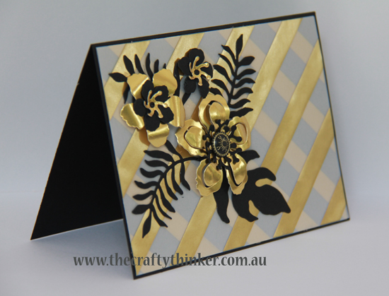 SU, Botanical Builder, Fancy Foil Vellum, Black and Gold, hand crafted card, #thecraftythinker