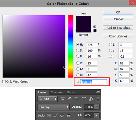 Solid-color-and-the-layer-settings-in-Photoshop