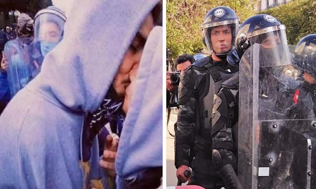 Tunisia: A couple kisses during the protest against Tunisian government in Avenue Habib Bourguiba