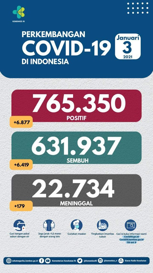 (3 Januari 2021) Jumlah Kasus Covid-19 di Indonesia