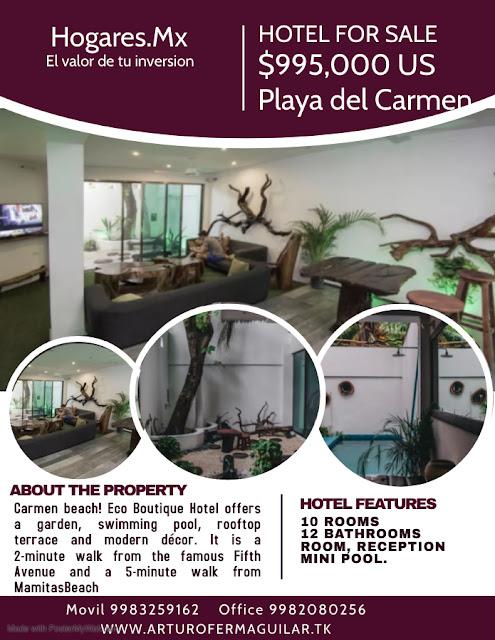 Hotel en venta funcionando ubicado en Playa del Carmen.