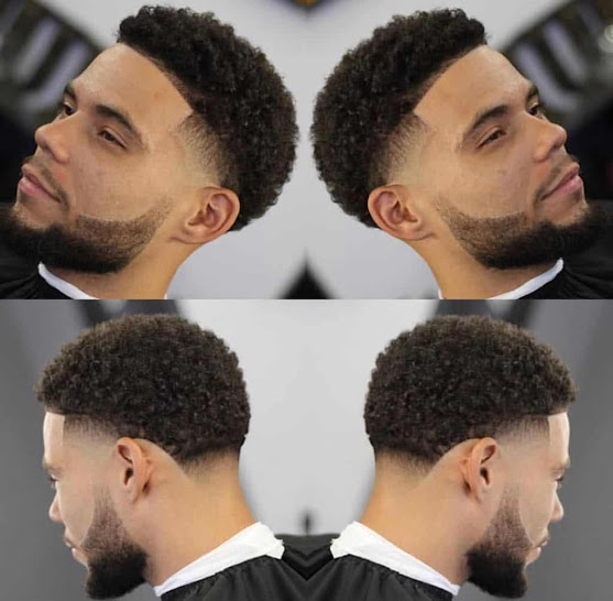 high top fade curly hair Matched School Activity