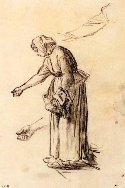 Жан Франсуа Милле - Этюд для «Женщины, кормящей цыплят». 1859