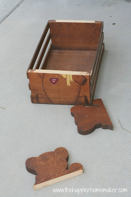 A picture showing the head of the wooden teddy bear cut off to make a rectangle wood box