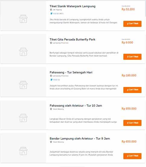 Daftar tempat di fitur Traveloka Xperience