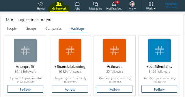 Finding LinkedIn hashtags