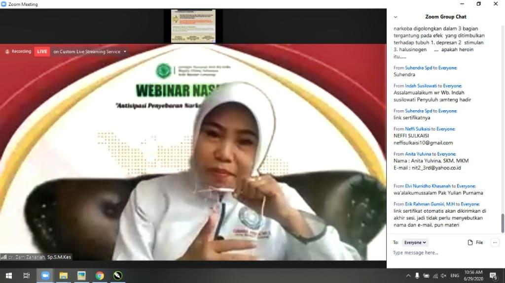 Ganas Annar MUI Kota Bandar Lampung Adakan Seminar Online Pencegahan Penyalahgunaan Narkoba Di Era New Normal.