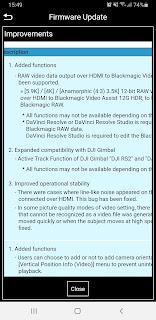Lumix S5 firmware update 2.3 notification