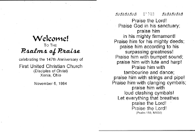 Welcome to Psalms of Praise (front), Psalm 150 (back)