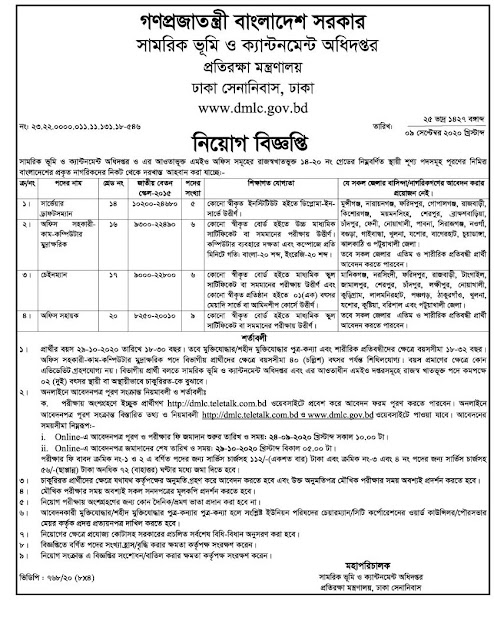 DMLC Job Circular 2020। BANGLADESH JOB NEWS