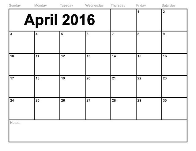February calendar 2016.