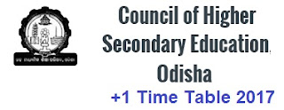 Odisha CHSE +1,+2 Time table 2017