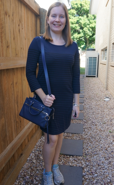 Navy striped atmos&here tee dress with Rebecca Minkoff Micro Bedford zip satchel in twilight | away from the blue