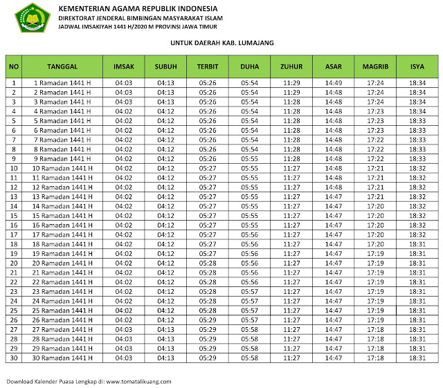 jadwal imsak waktu buka puasa Kabupaten Lumajang 2020 m ramadhan 1441 h tomatalikuang.com