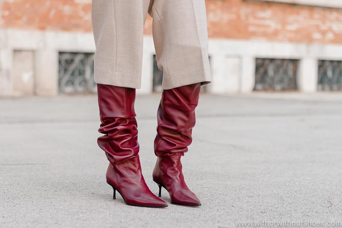 botas altas tipo slouchy  de piel color burdeos de AGL