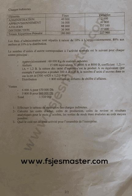 Exemple Concours Master Comptabilité Contrôle Audit (CCA) 2019-2020 - Fsjes Marrakech