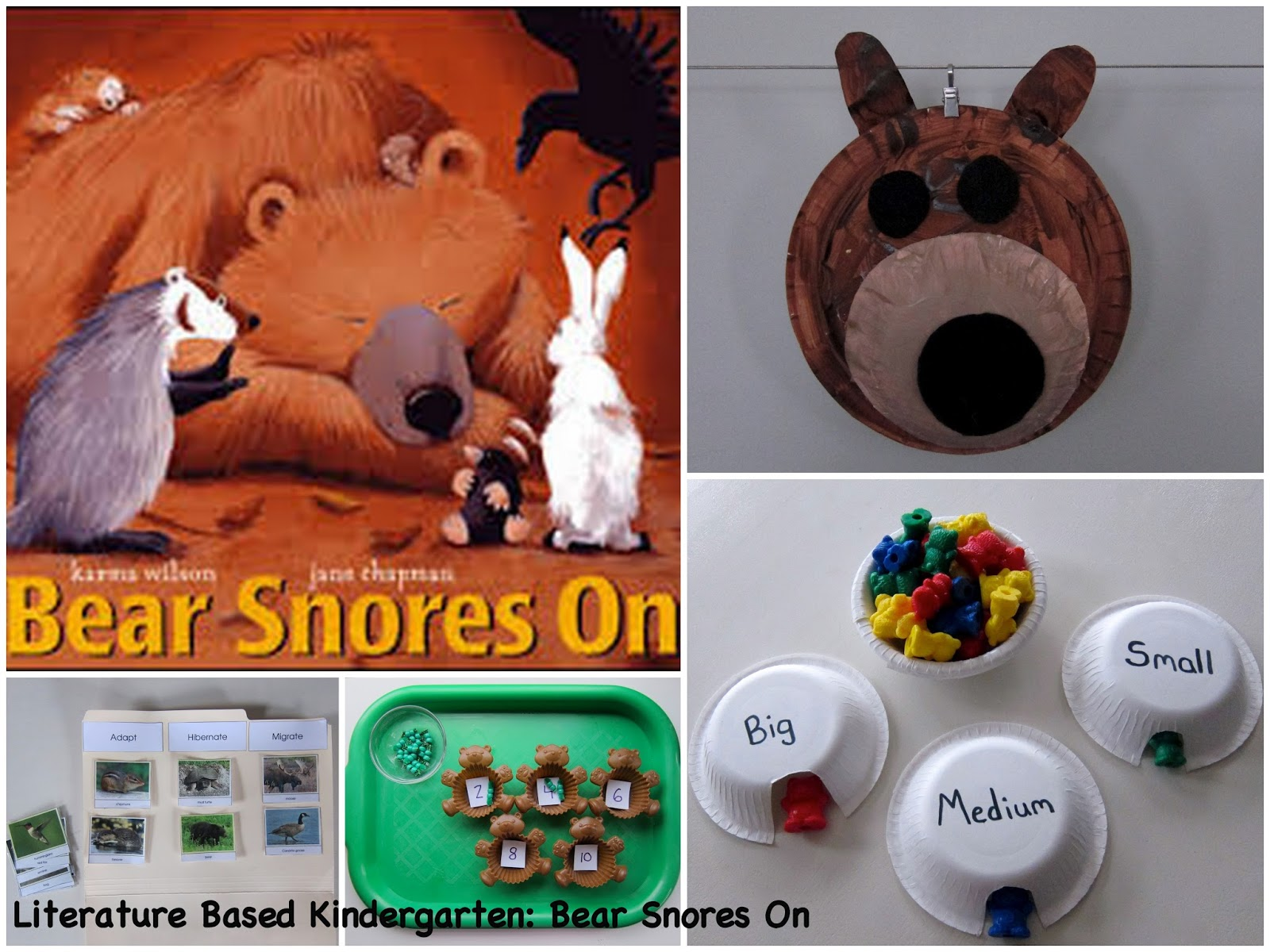 Literature Based Kindergarten Bear Snores On