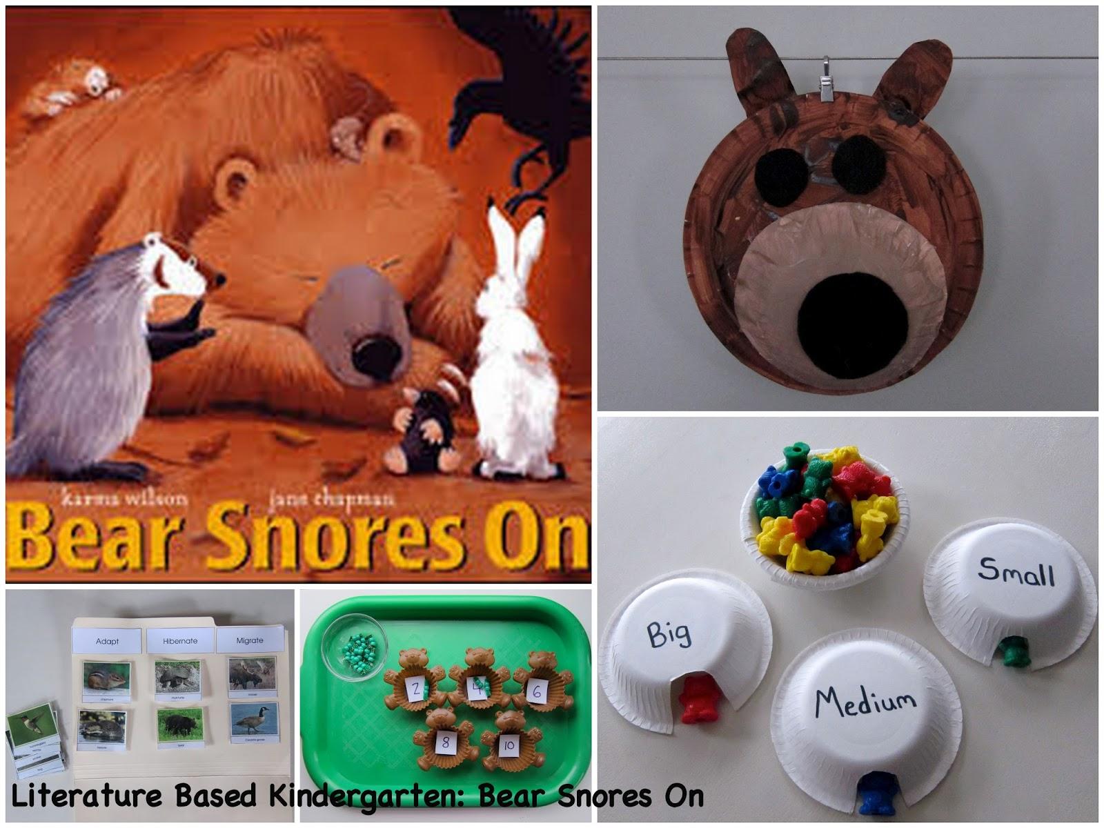 Literature Based Kindergarten Bear Snores On
