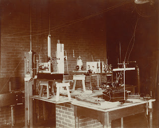A photograph of a room of lab equipment.