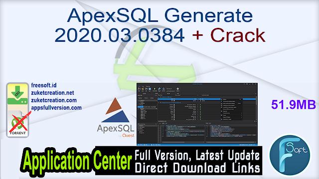 ApexSQL Generate 2020.03.0384 + Crack