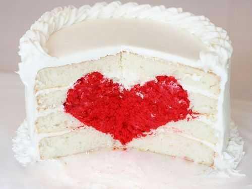 Överraskning hjärta Inside kaka