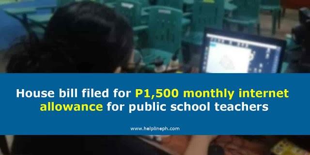 House bill filed for P1,500 monthly internet allowance for public school teachers