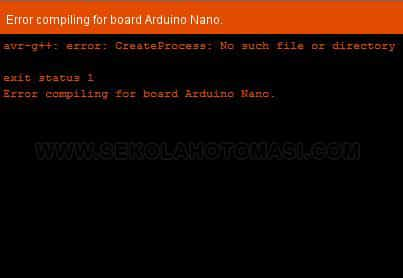 Solusi avr-g++: error: CreateProcess: No such file or directory di Arduino Nano