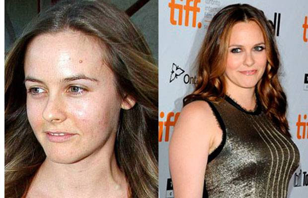 Alicia Silverstone with n without makeup