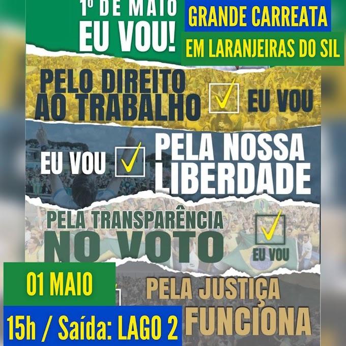 Neste sábado, 1º, tem grande carreata pelo BRASIL em Laranjeiras do Sul