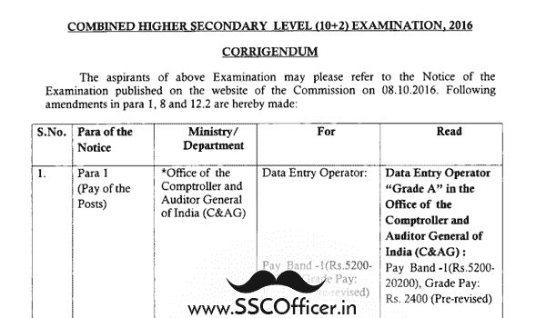 SSC CHSL 2016 Revised PDF Notice  - SSC Officer
