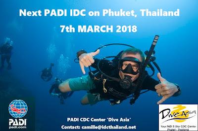 Next PADI IDC on Phuket, Thailand starts 7th March