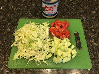 fresh cabbage cucumber, tomato and miracle whip salad recipe