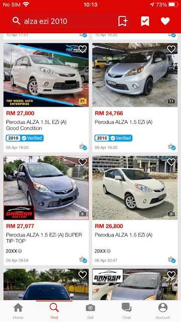 Harga Used car Kereta Perodua Alza tahun 2010 antara RM25 ribu hingga RM28 ribu