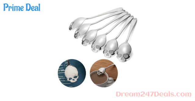 FOXAS Skull Spoons, Skull Sugar Spoons,Skull Tea Spoons,Skull Coffee Spoons, Set of 6 Silver 304 Stainless Steel (18/10 Chromium Nickel)
