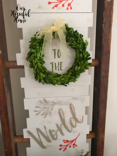 boxwood wreath Christmas wall art