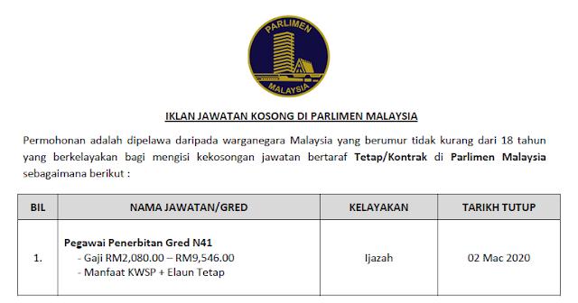 jawatan kosong parlimen malaysia 2020