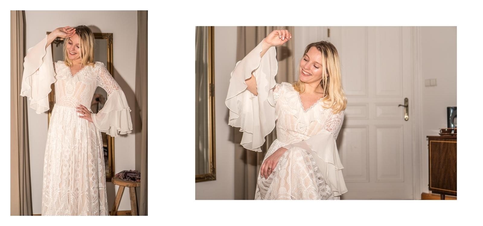 9a suknia ślubna z długim rękawem z dekoltem v z falbanami z rękawem z odpinanym dołem trenem z odkrytymi plecami