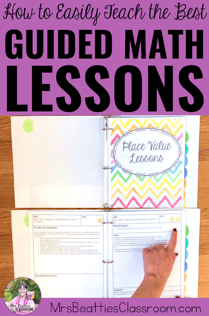 "Photos of Guided Math Lesson binder with text, ""How to Easily Teach the Best Guided Math Lessons."""