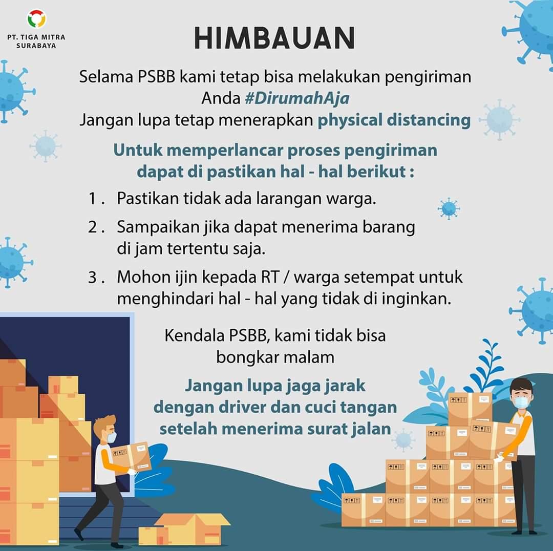 Himbauan Saat PSBB pada belanja online bahan bangunan di PT. Tiga Mitra Surabaya