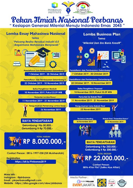 """Pekan Ilmiah Nasional Perbanas """"Kesiapan Generasi Millenial Menuju Indonesia Emas 2045"""""""