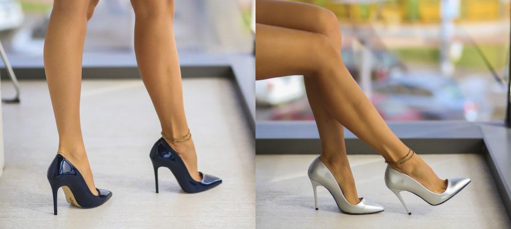 Pantofi eleganti de ocazie ieftini albastri, argintii de toamna