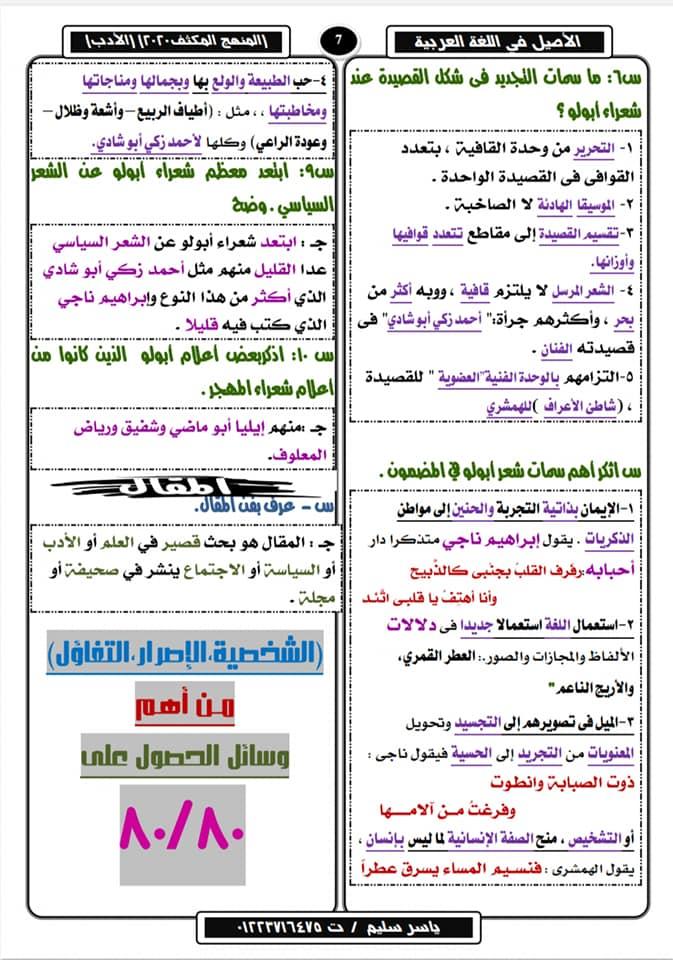 تلخيص الأدب في ١٠ ورقات لثالثة ثانوي وأهم الأسئلة المتوقعة في٢٠٢٠ أ/ ياسر سليم 18