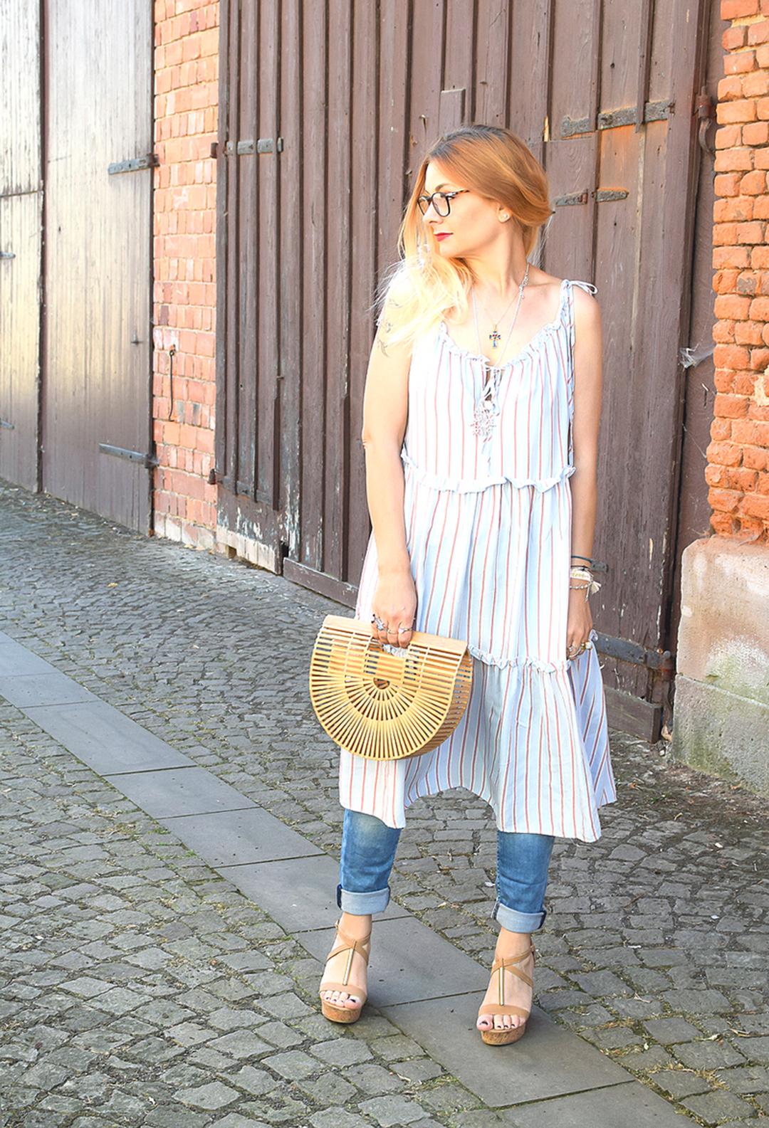 Kleid über Hose tragen, Trendtasche aus Bambus, Bambis Tasche