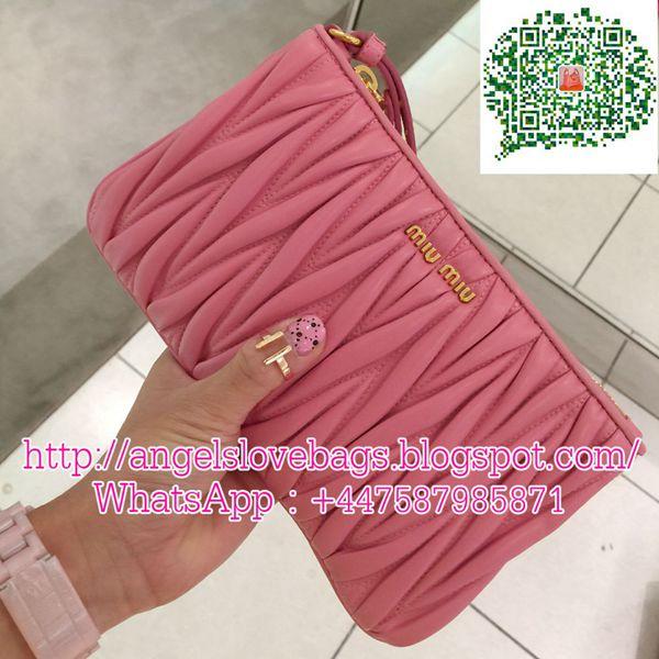 SALES - 40% Off❣ MIU MIU Matelasse Leather Wristlet Pouch Bag - Pink 6610288ed83be