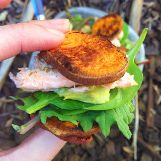 gluten free paleo sweet potato salmon sliders