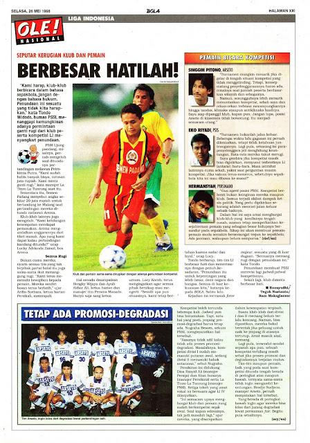 SEPUTAR KERUGIAN KLUB DAN PEMAIN LIGA INDONESIA 1998
