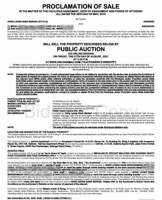 PoS Studio dekat AEON dijual pada harga lelong RM194 ribu